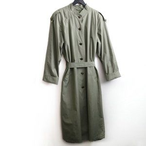 LONDON FOG Vintage Mai Tall Belted Olive Green Trench Coat Mens Size 16T